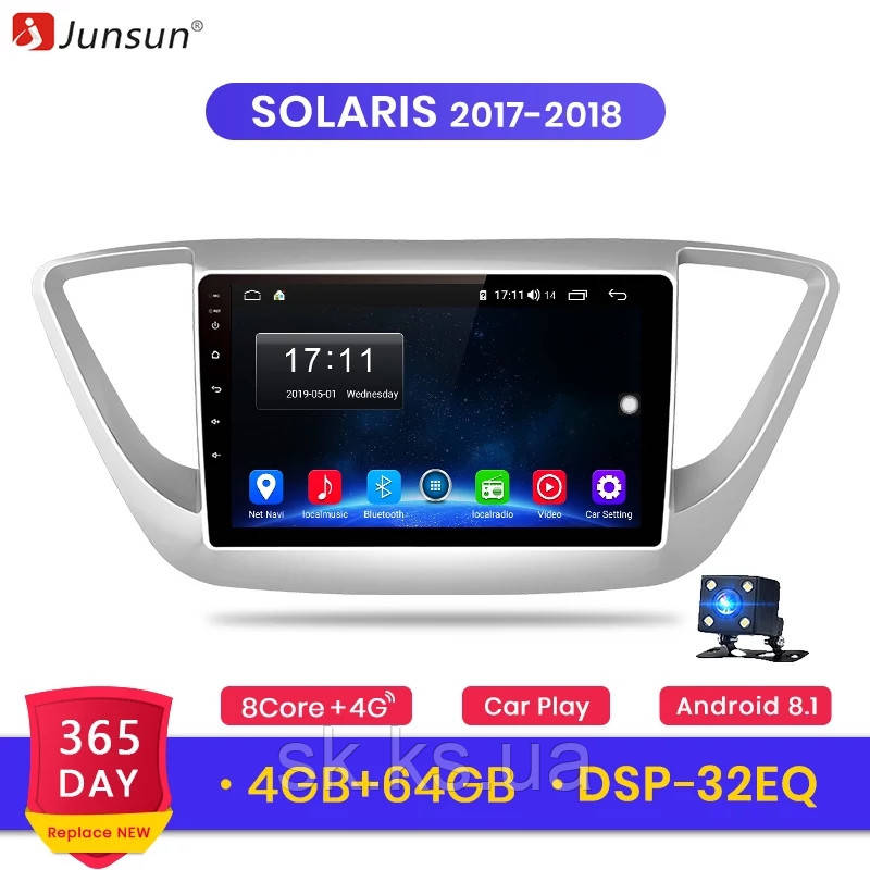Junsun 4G Android магнитола для huyndai solaris accent 2017-2019 full 4Gb озу+ 64gb