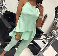Костюм женский летний с укорочеными брюками и блузкой на брителях (К27913), фото 1