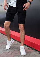 """Стильные мужские летние шорты """"Фрейм"""" из хлопка черные с карманами на молнии"""