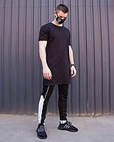"""Модна чоловіча бавовняна подовжена футболка """"Ронін"""" чорна однотонна - S, M, L, XL"""