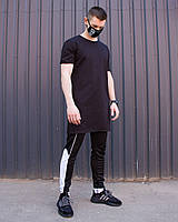 """Модная мужская хлопковая удлиненная футболка """"Ронин"""" черная однотонная - XS, S"""