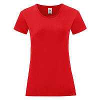 Стильна жіноча однотонна футболка червоного кольору