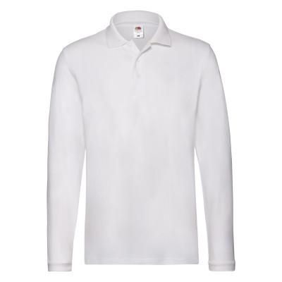 Весенне-осенняя мужская футболка поло с длинным рукавом белая - S, M, 3XL