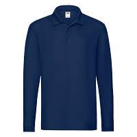 Классная мужская однотонная рубашка поло с длинным рукавом синяя