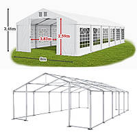 Шатер 8х12 метров ПВХ 560 г/м2 с мощным каркасом под склад, гараж, палатка, ангар, намет, павильон садовый
