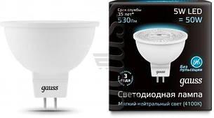 Лампа  Gauss Black LED MR16 GU5.3 5W 4100K (art 101505205)