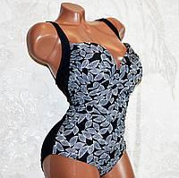 Большой 60 размер! Оригинальный цельный черный купальник моделирующий фигуру, для пышных форм, с чашкой