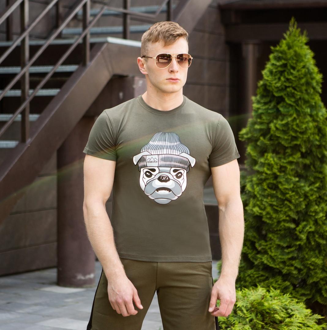 """Мужская футболка Pobedov """"Sobaka v shapke"""" Khaki (M, L, XL размеры)"""