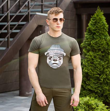 """Мужская футболка Pobedov """"Sobaka v shapke"""" Khaki (M, L, XL размеры), фото 2"""