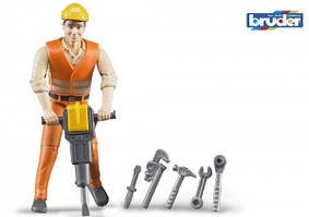 Игрушка Bruder фигурка человека строителя 11см + аксессуары