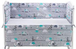 Защита в кроватку Qvatro Gold ZG-02  серый (мишка, зебра)