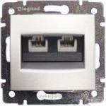 Комп'ютерна розетка 2xRJ45 кат.5Е UTP на захопленнях Valena (алюміній)