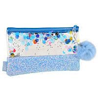 Пенал-косметичка Yes с глиттером Galaxy, голубая (532710), фото 1