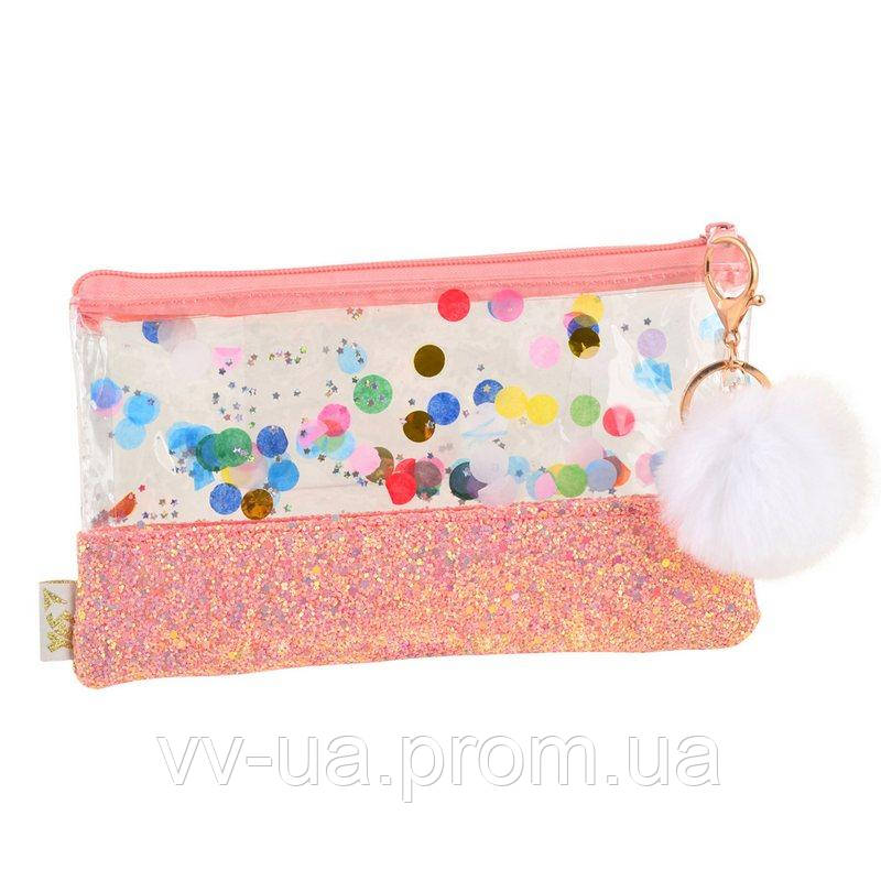 Пенал-косметичка Yes с глиттером Galaxy, розовая (532709)