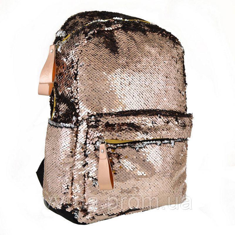 Рюкзак молодежный с паетками Yes GS-01 Gold (557676), для женщин