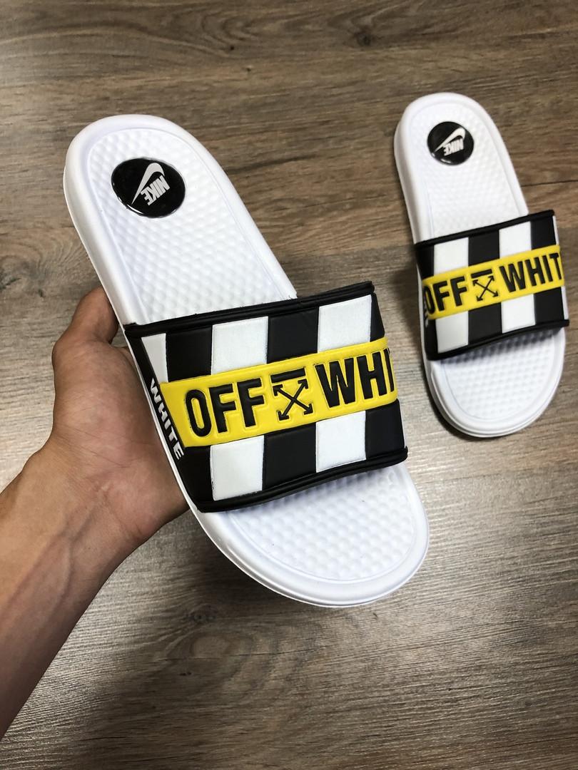 Мужские сланцы в стиле Nike Off-White (white), сланцы Найк, шлепанцы Найк, Тапочки найк (Реплика ААА)