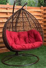 """Двухместное подвесное кресло """"Дабл"""" (шоколад + красный)"""