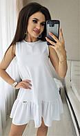 Платье женское короткое из коттона без рукавов с оборкой (К27918), фото 1
