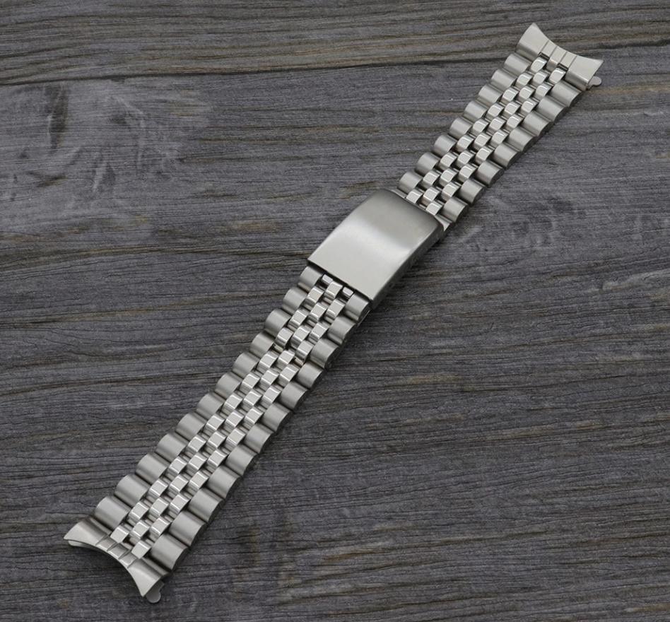 Браслет Jubilee для часов из нержавеющая стали, литой, глянец/мат. Заокругленное окончание. 20 мм