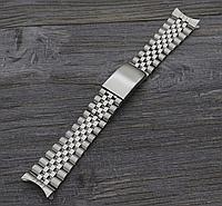 Браслет Jubilee для часов из нержавеющая стали, литой, глянец/мат. Заокругленное окончание. 20 мм, фото 1