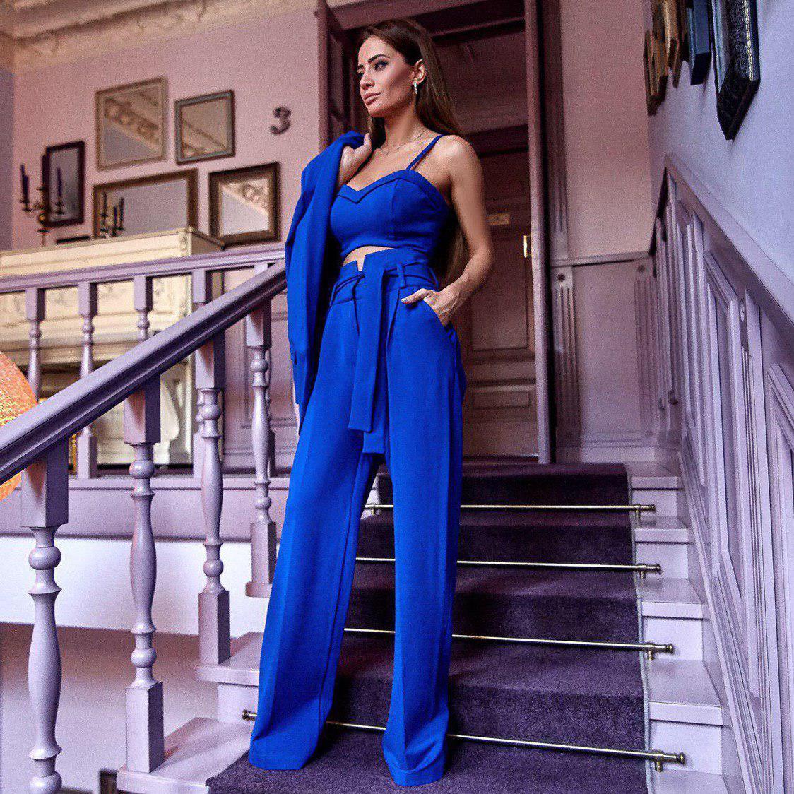 😜 Жіночий костюм трійка (штани і топ) синій