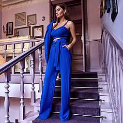 😜 Женский костюм тройка (брюки и  топ) синий