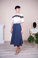 Женская летняя юбка годе синяя в ромб, фото 1