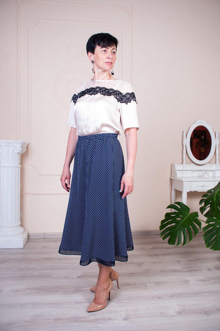 Женская летняя юбка годе синяя в ромб