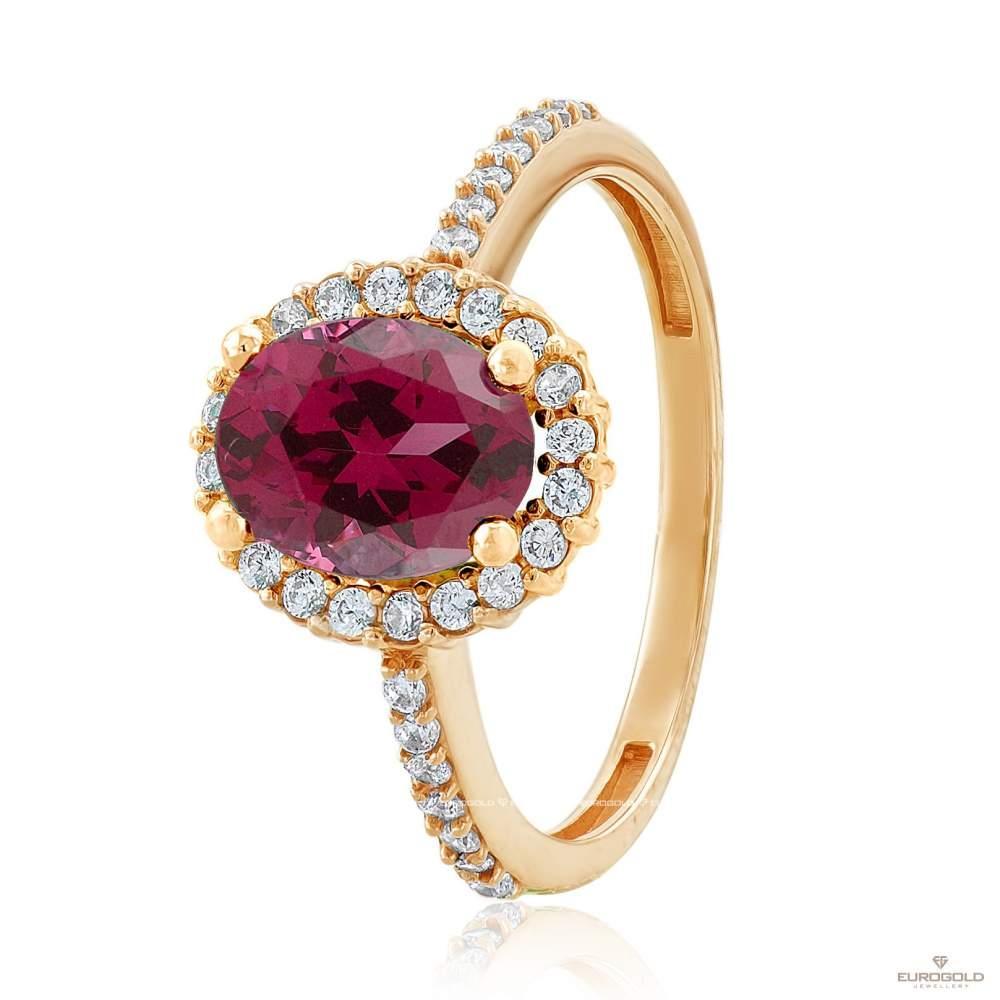 Кольцо золотое с рубином, КД4036КРУБ Eurogold