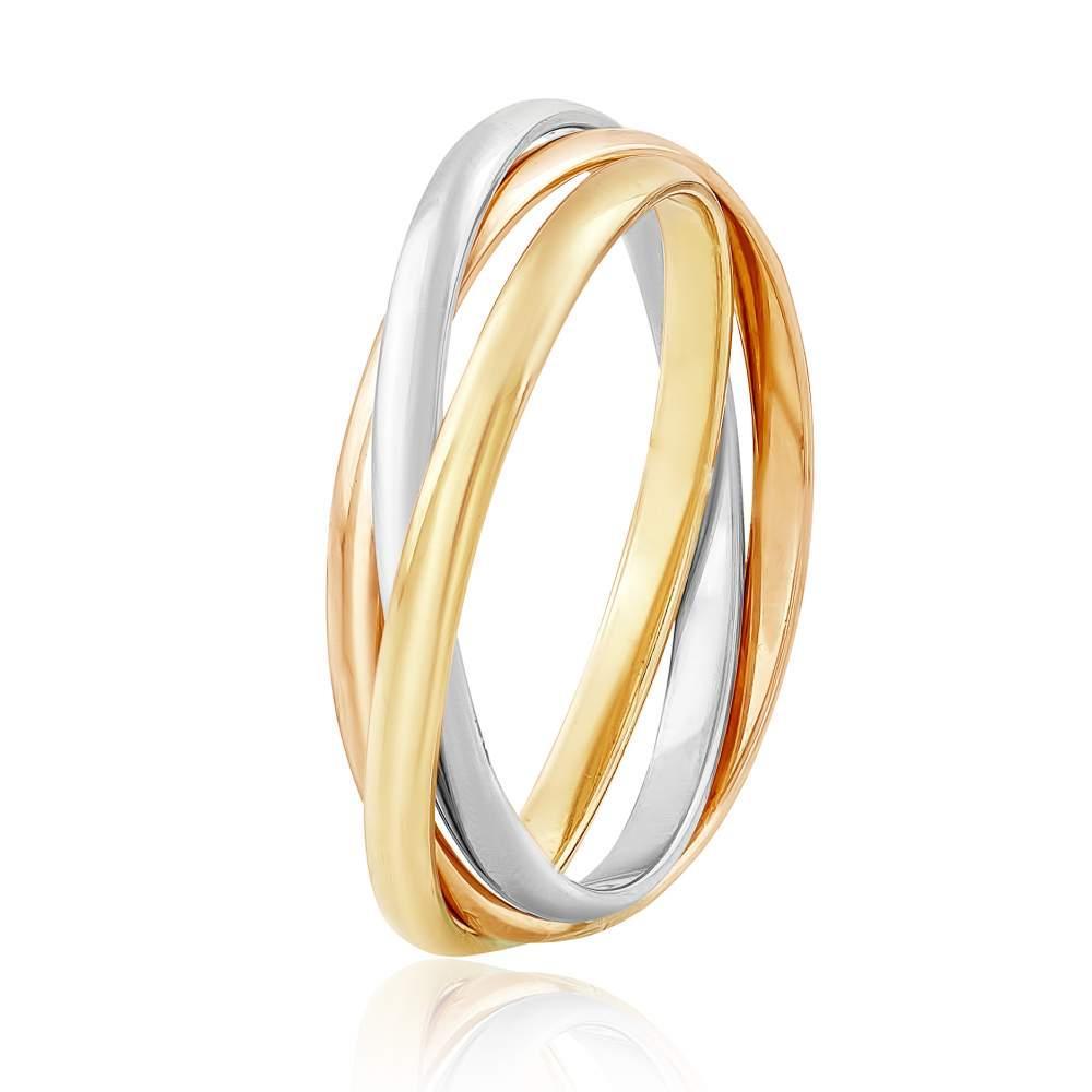 """Обручальное кольцо """"Trinity"""", комбинированное золото, КО020/3 Eurogold"""