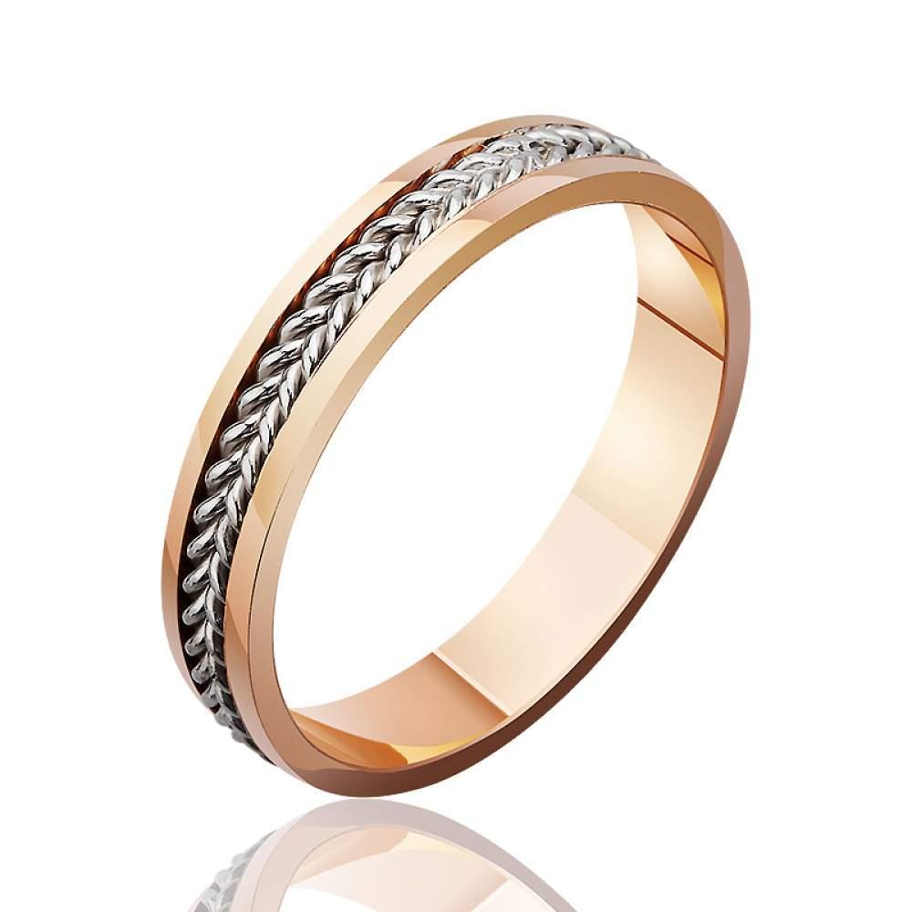"""Обручальное кольцо """"Золотое плетение"""", комбинированное золото, КОА105 Eurogold"""