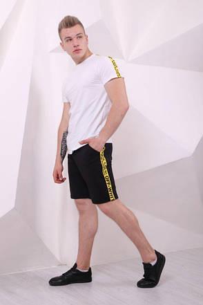 Мужская Футболка Off White белая с жёлто-чёрными лампасами, фото 2