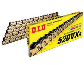Мото цепь 520 DID 520VX3 G&B черно - золотая для мотоцикла количество звеньев 106-120
