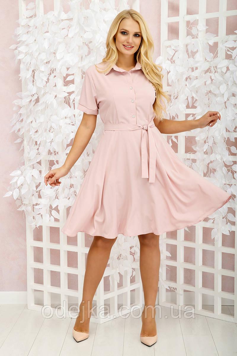 Платье Молли однотон пудра