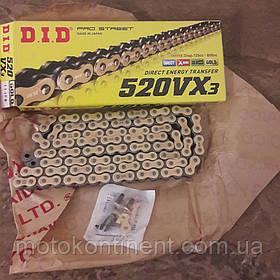 Мото цепь  DID520VX3 108 звеньев G&B черно - золотая  для мотоцикла DID 520VX3 G&B - 108ZB