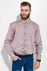 Рубашка мужская в клетку  511F007 (Серо-розовый) S