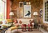 Интерьер комнаты, офиса, вестибюля из дранки, шинделя, гонта, деревяной черепицы.