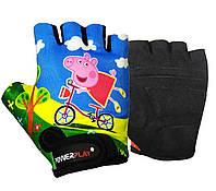 Велорукавички PowerPlay 5473 Peppa Pig голубі  3XS, фото 1