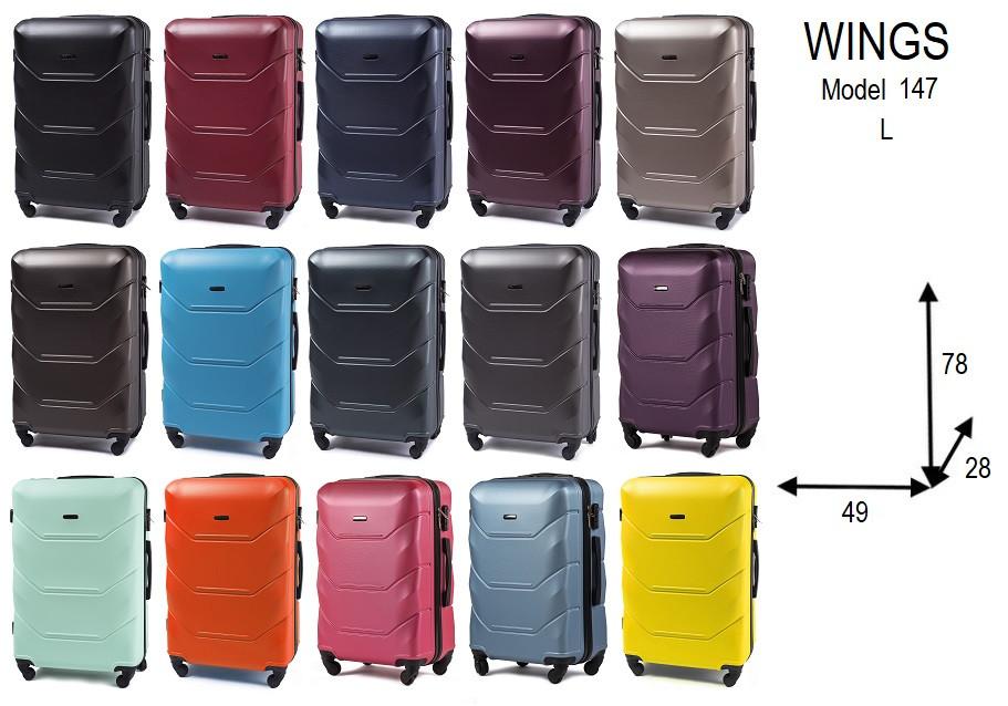 Большой пластиковый чемодан Wings 147 на 4 колесах