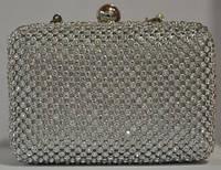 Клатч женский (пластик + текстиль), 20105B Черный + камни, размер 130*85*70