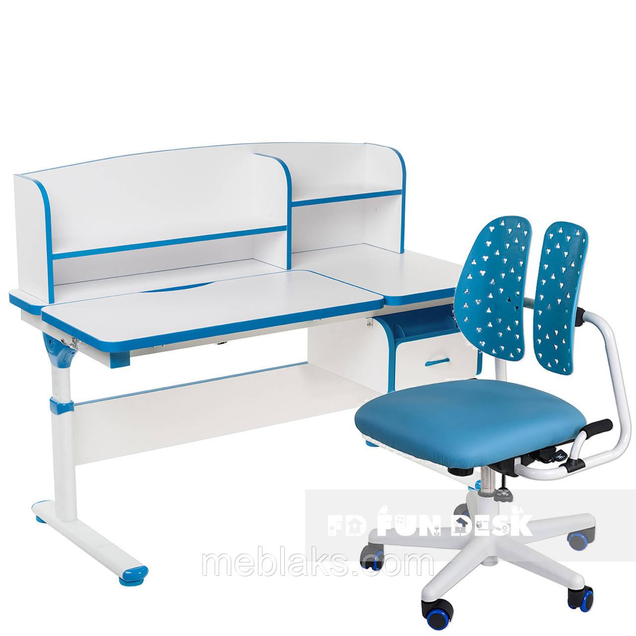 Комплект парта Creare Blue с надстройкой + детское ортопедическое кресло SST2 Blue FunDesk
