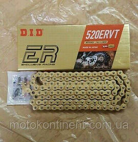 Мото цепь  DID 520ERVT 114 звеньев золотая  для эндуро мотоциклов DID 520ERVT G&G - 114FB
