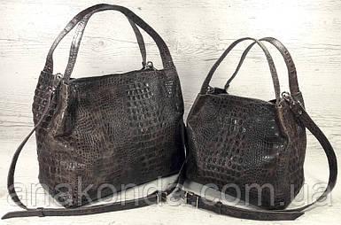 523к-XL Натуральная кожа, Сумка женская, тиснение крокодил коричневая Сумка-тоут Сумка-мешок Объемная сумка