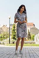 Летнее платье-рубашка с поясом цветочный принт 5539, 42