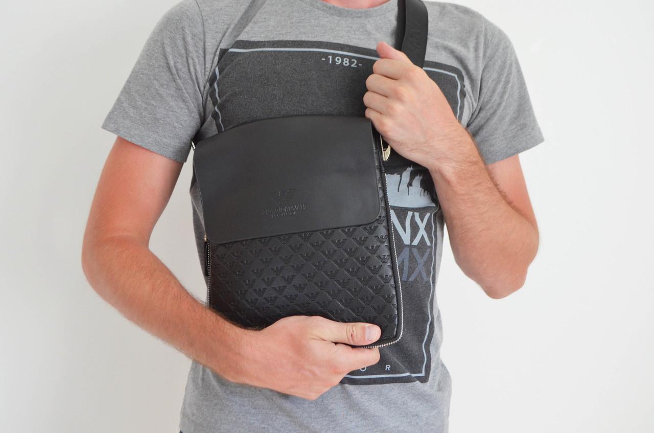 Мужская сумка Armani(армани) через плечо копия, дроп и опт, брендовая