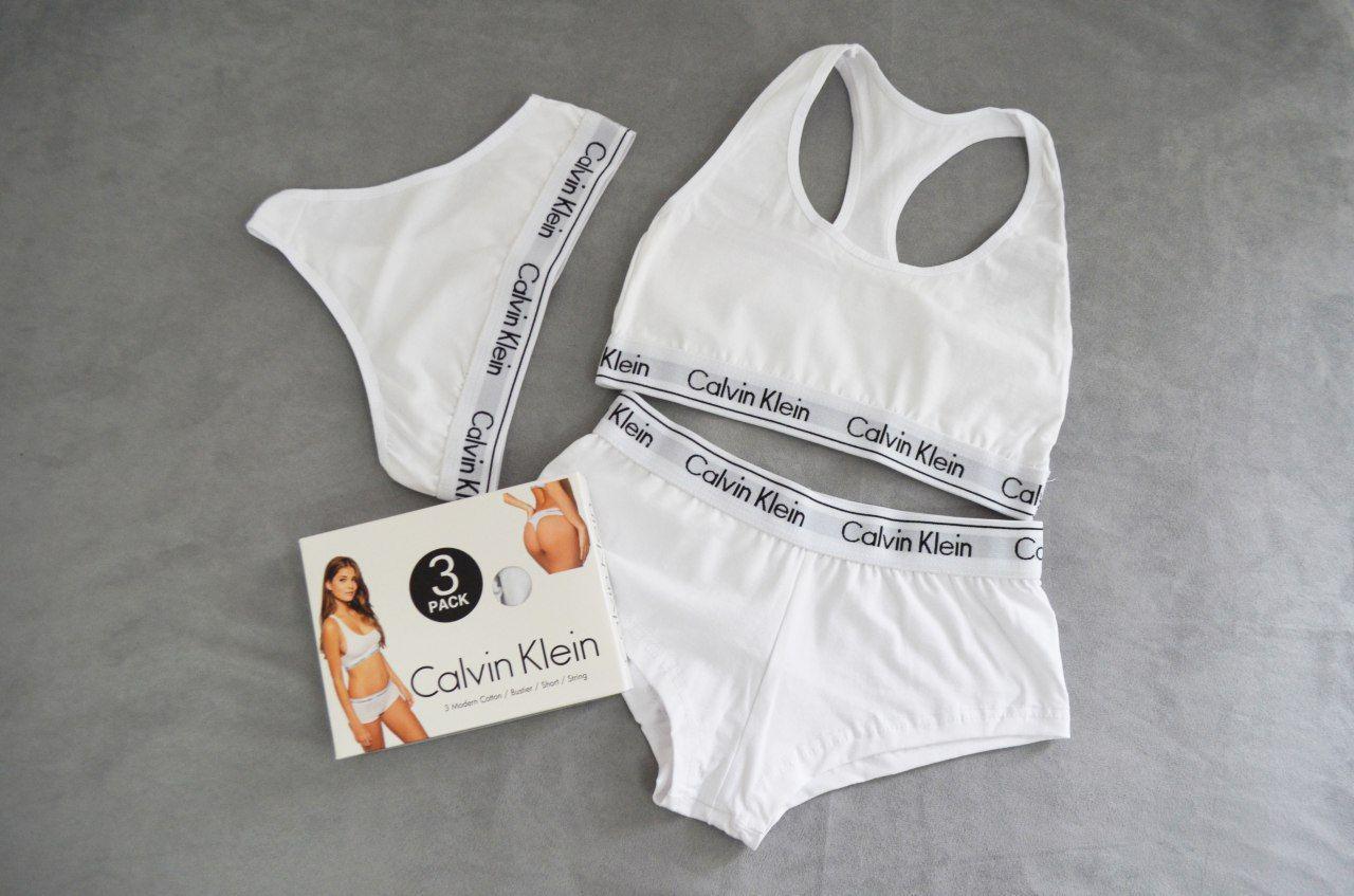 Женское нижнее белье Calvin Klein тройка - топ+стринги+шорты отличного качества. Реплика