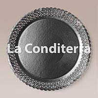 Черные ажурные тарелки Salaet ARIES, круглые d=30 см, фото 1