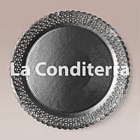 Черные ажурные тарелки Salaet ARIES, круглые d=32 см