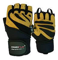 Рукавички для фітнесу PowerPlay 1063 B Чорно-Коричневі S