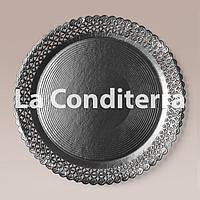 Черные ажурные тарелки Salaet ARIES, круглые d=35 см, фото 1